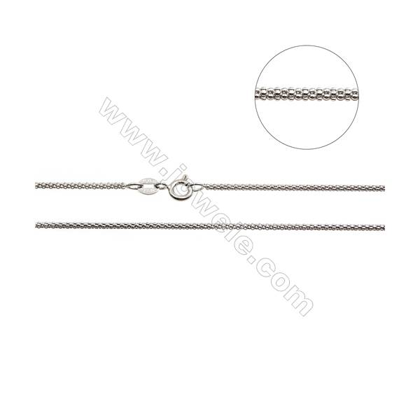"""925 Sterling Silver Porpcorn Chain x 1Piece   Length: 16""""  thick 1.6mm(white gold plating)"""