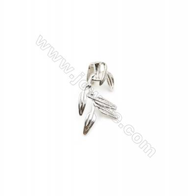 925 Sterling Silver Leaf Pinch Bail  Rhodium  11x23mm  Pin 0.9mm
