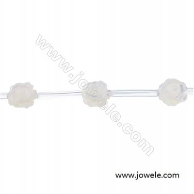 White mother-of-pearl shell rose designed strand beads diameter 10mm hole  0.7mm 15 Beads/Strand