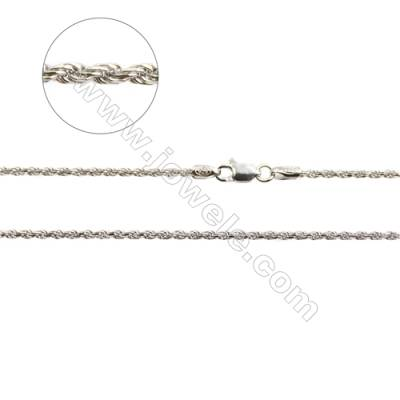 "925 Sterling Silver Rope Chain x 1Piece   Thick 1mm  Length: 16""(white gold plating)"