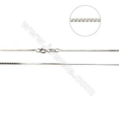 "925 Sterling Silver Oval Curb Chain x 1Piece   Size 0.5x1.2mm  Length: 16""(white gold plating)"
