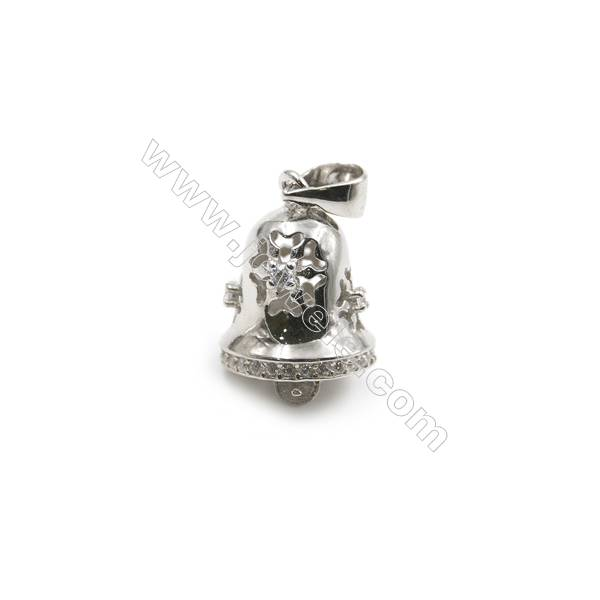 Micro pave CZ pendant 925 sterling silver platinum plated pendants, 10x15mm, x 5pcs, tray 3mm, needle 0.6mm