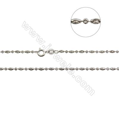 "925 Sterling Silver Olive Necklace Chain x 1piece  Size: Ball 2mm  Olive 2x4mm  16"" (white gold plating)"