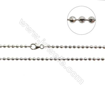 "925 Sterling Silver Laser Bean Chain x 1Piece   Diameter 2.5mm  Length: 16""(white gold plating)"