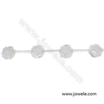 White mother-of-pearl shell rose-shaped 8mm strand beads  hole diameter 0.7mm 15 beads /strand