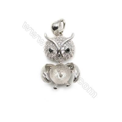 925 sterling silver platinum plated zircon pendants, 13x20mm, x 5pcs, tray 7mm, needle 0.6mm