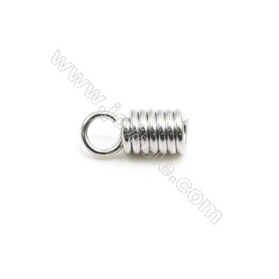 304 Stainless Steel Terminators  Cord Coil  Size 10x4.2mm  Inner Diameter 2.5mm  Hole: 1.5mm 850pcs/pack