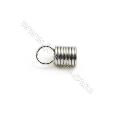 304 Stainless Steel Terminators  Cord Coil  Size 11x5.5mm  Inner Diameter 4mm  Hole: 4mm 500pcs/pack