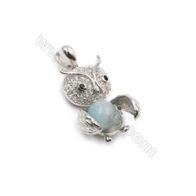925 sterling silver platinum plated zircon pendants-D5836 13x20mm x 5pcs disc diameter 7mm needle diameter 0.6mm