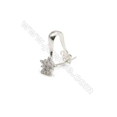 925 Sterling Silver Star Pinch Bail  Rhodium  9x20mm  Pin 0.6mm  Cubic Zirconia Micro Pave