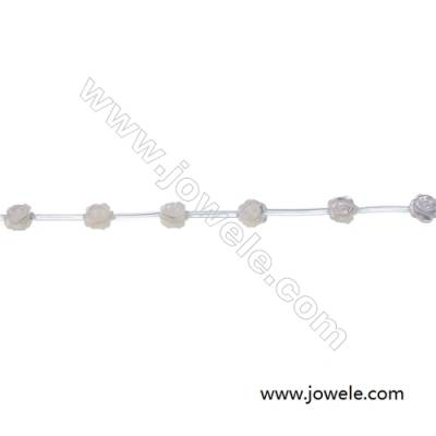 White mother-of-pearl shell rose designed  6 mm beaded strand  hole diameter 0.6 mm  15 beads/strand
