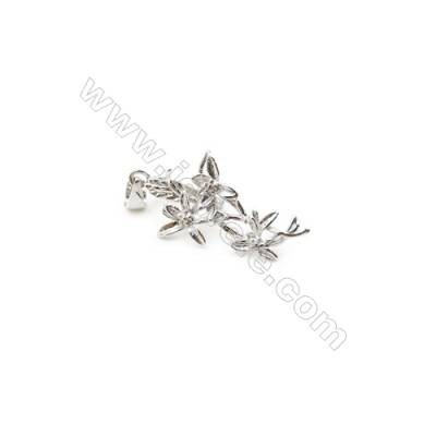 925 Sterling Silver Flower Pinch Bail  Rhodium Plated  13x27mm  Pin 0.9mm