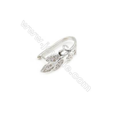 925 Sterling Silver Rhodium Plated  Flower Pinch Bail  6x18mm  Pin 0.95mm  Cubic Zirconia Micro Pave