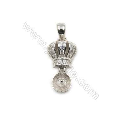 925 sterling silver Platinum plated zircon pendant, 8x16mm, x 5pcs, tray 5mm, needle 0.6mm