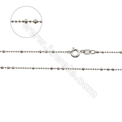 "925 Sterling Silver Ball Chain x 1Piece   Size: large ball 1.8mm  small 1mm  Length: 16"" (white gold plating)"