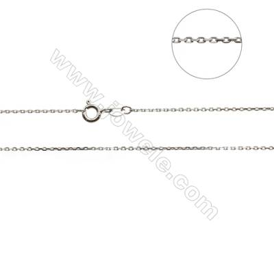 "925 Sterling Silver Cross Chain x 1Piece   Size 0.8x1.5mm  Length: 16"" (white gold plating)"