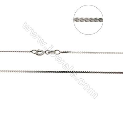 "925 Sterling Silver Serpentine Chain x 1Piece   Thick 1.2mm  Length: 16"" (white gold plating)"