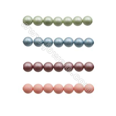 14mm Matte Shell Pearl Round Beads  Hole 1mm  about 28 beads/strand  15~16""