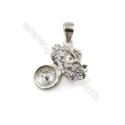 Silver 925 platinum  plated zircon pendants, 12x16mm, x 5pcs, tray 6mm, pin 0.7mm
