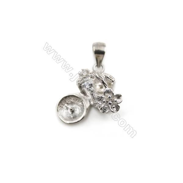 Silver 925 platinum  plated zircon pendants, 12x16mm, x 5pcs, tray 6mm, pin 0.7mm