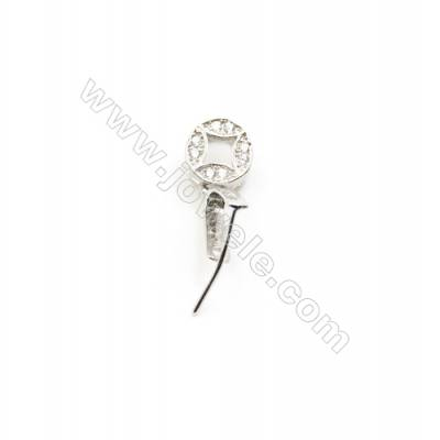 925 Sterling Silver Coin Pinch Bail  Rhodium  5x12mm  Pin 0.55mm  Cubic Zirconia Micro Pave