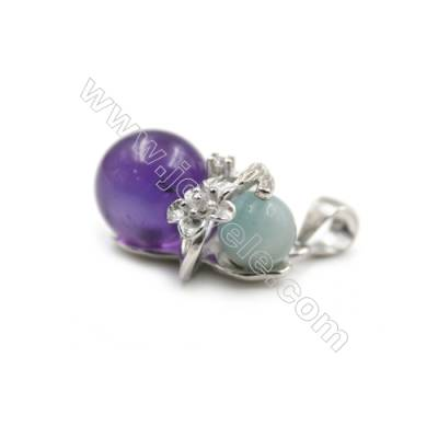 Silver 925 platinum  plated zircon pendants-D5828 12x16mm x 5pcs disc diameter 6mm small pin diameter 0.7mm