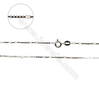 "925 Sterling Silver Chain x 1Piece   Size: Rectangle 1x3mm  Box 1x1.5mm  Length: 16""(white gold plating)"