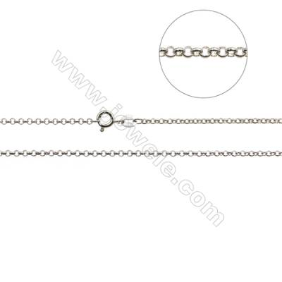 925 Sterling Silver Rolo Chain x 1Piece   White Gold Plated  Size 0.5x2mm  Length: 16""