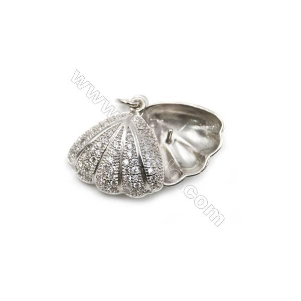 925 Sterling silver platinum plated zircon pendant, 16x16mm, x 5pcs, pin 0.6mm