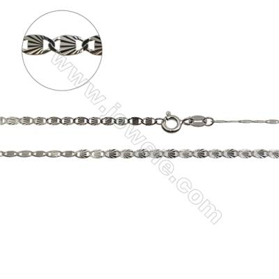 "925 Sterling Silver Flat Anchor Chain x 1Piece   Size 2.2x4.7mm  Length: 16""  (White Gold Plating)"