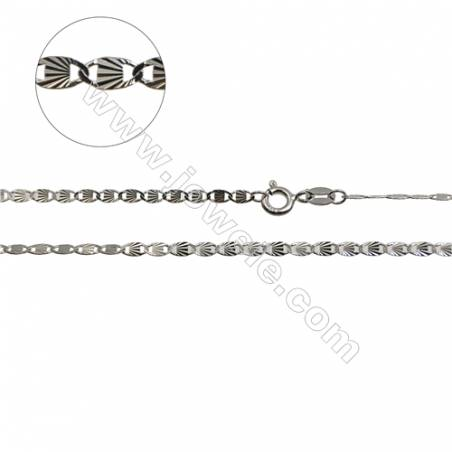 """925 Sterling Silver Flat Anchor Chain x 1Piece   Size 2.2x4.7mm  Length: 16""""  (White Gold Plating)"""
