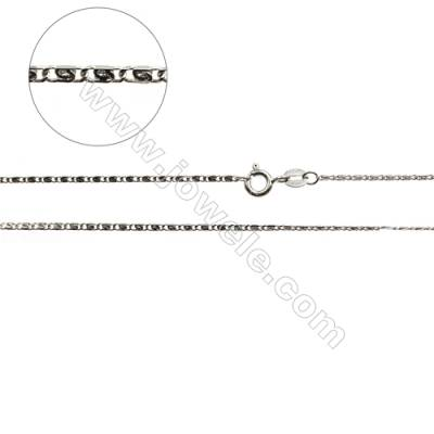 "925 Sterling Silver Snail Chain x 1Piece   Size 1.4x3.5mm  Length: 16"" (white gold plating)"