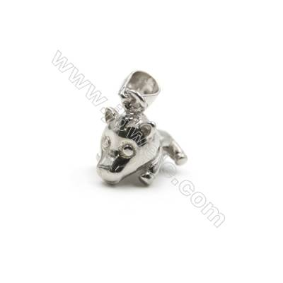 925 sterling silver platinum plated pig model pendants, 8x11x12mm, x 5pcs, pin 0.5mm