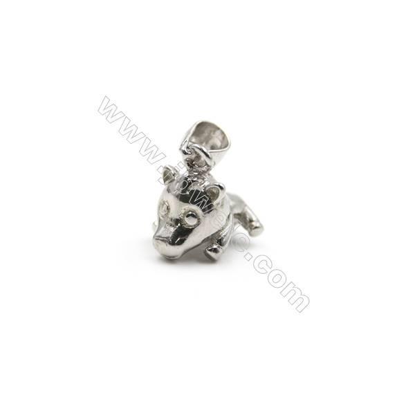 925 sterling silver platinum plated pig model pendants, 8x11x12mm, x 5pcs, pin 0.5mm