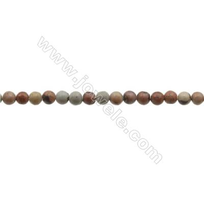 """3mm Natural Leopard Skin Jasper Beads Strand  Round  hole 0.7mm  about 129 beads/strand  15~16"""""""