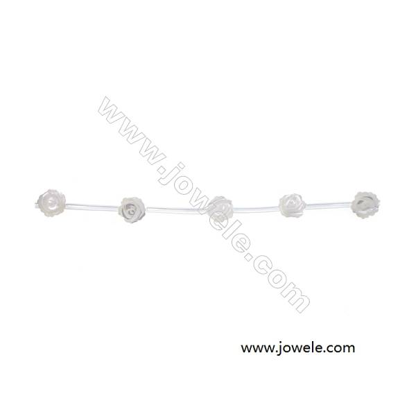 Rose shaped white mother-of-pearl shell 6 mm strand beads   hole diameter 0.6 mm 15beads/strip