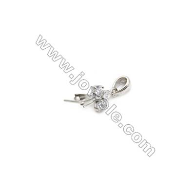 925 Sterling Silver Pinch Bail  Rhodium  6x12mm  Pin 0.65mm  Cubic Zirconia Micro Pave
