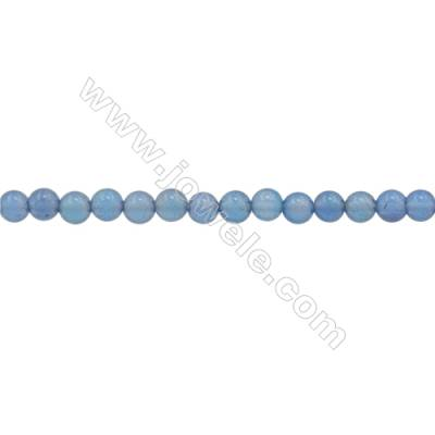 3mm Natural Blue Agate Beads Strand  Round  hole 0.7mm  about 131 beads/strand  15~16""