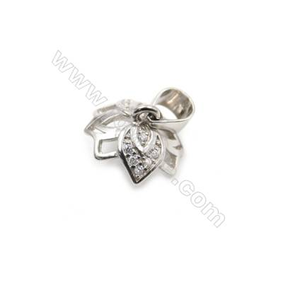 925 sterling silver platinum plated jewellery pendants, Micro pave cubic zirconia, 8x11x12mm, x 10 pcs, tray 9mm, pin 0.5mm