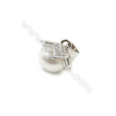 925 sterling silver platinum plated jewellery pendants  Micro pave cubic zirconia  8x11x12mm x 10 pcs  tray 9mm  pin 0.5mm