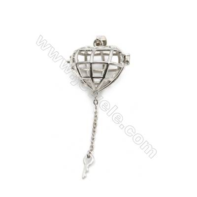 925 sterling silver heart & key pendant, 12x19x21mm, x 5 pcs