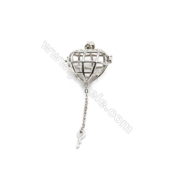 925 sterling silver heart & key pendant, 12x19x21mm, x 5 pcs