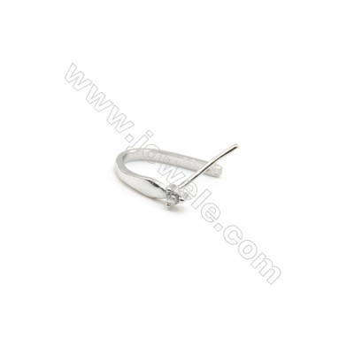 925 Sterling Silver Pinch Bail  Rhodium  2x15mm  Pin 0.68mm  Cubic Zirconia Micro Pave