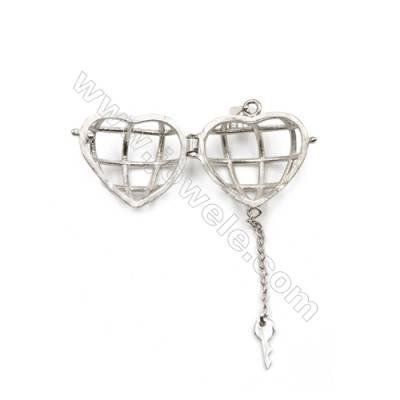 925 sterling silver heart & key pendant-D5863 12x19x21mm x 5 pcs