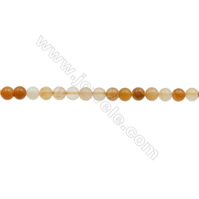 3mm Natural Light Yellow Jade Beads Strand  Round  hole 0.7mm  about 130 beads/strand  15~16""