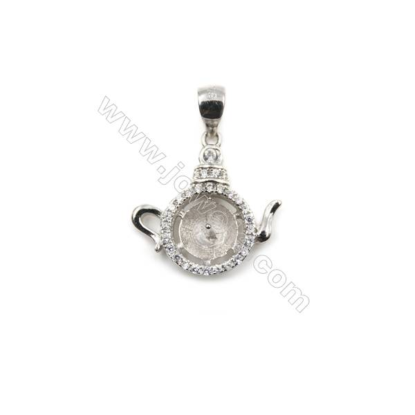 Micro pave 925 sterling silver platinum plated pendant, 17x17mm, x 5 pcs, tray 8mm, needle 0.4mm