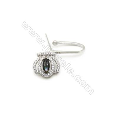 925 Sterling Silver Crown Pinch Bail  Rhodium 12x13mm  Pin 0.71mm  Cubic Zirconia Micro Pave