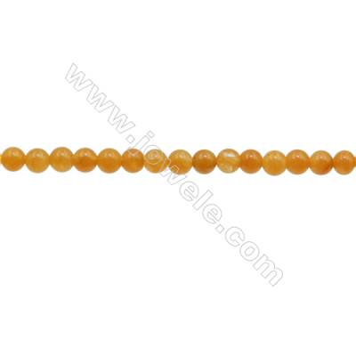 3mm Natural Yellow Jade Beads Strand  Round  hole 0.7mm  about 131 beads/strand  15~16""