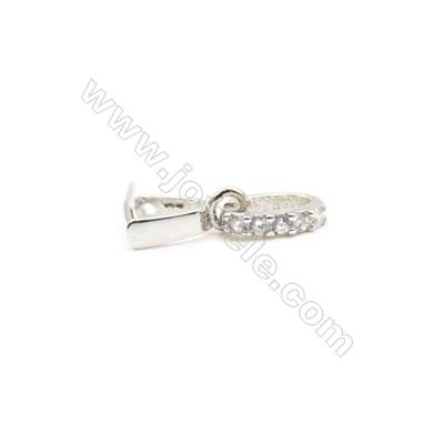 925 Sterling Silver Ring Pinch Bail  Rhodium  3x12mm  Pin 0.62mm  Cubic Zirconia Micro Pave
