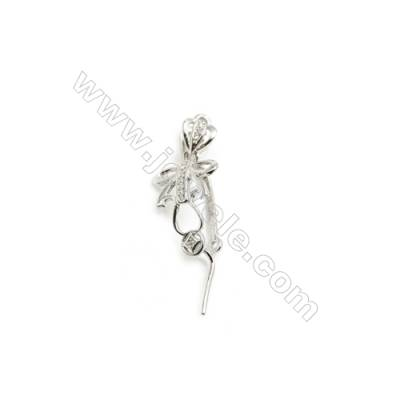 925 Sterling Silver Knot Pinch Bail Rhodium  11x24mm  Pin 0.9mm  Cubic Zirconia Micro Pave